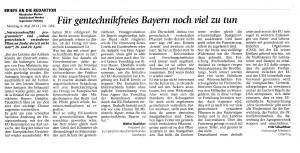 Köhler MM-Leserbriefe 6.5.13 zur Agrogentechnik